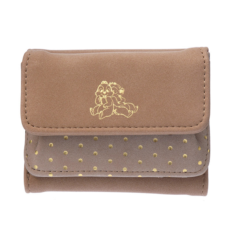 Chip & Dale Trifold Wallet Brown Color Suede Disney Store Japan
