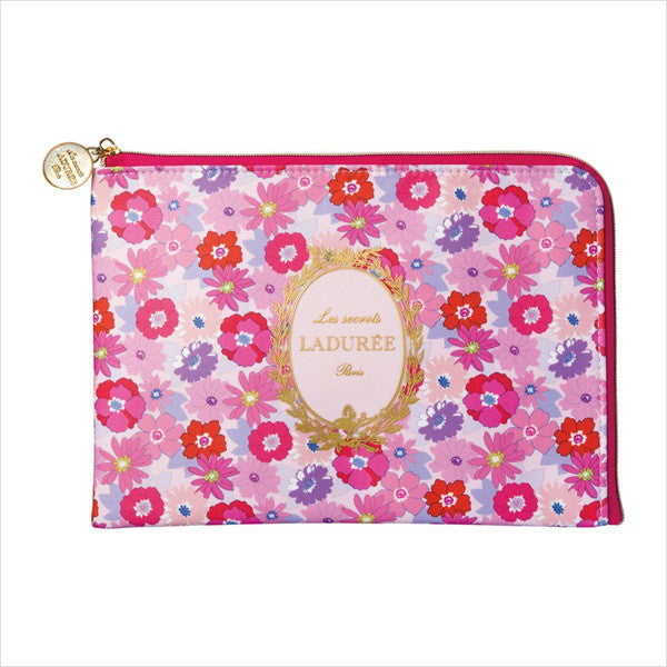 Flat Pouch Mathilde Flower Pink Laduree Japan