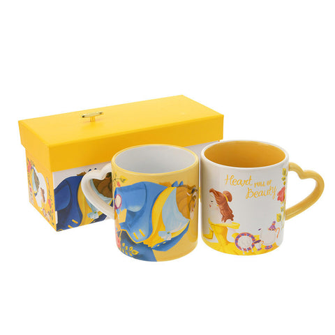 Belle Beauty and the Beast Mug Cup Music Box SIDE BY SIDE Disney Store Japan