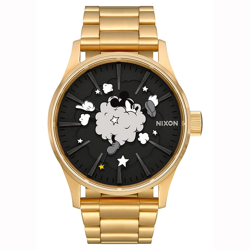 Mickey Watch SENTRY SS Gold NIXON Disney Store Japan 10 ATM water resistant