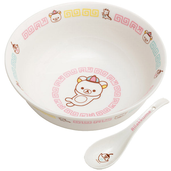 Rilakkuma Ramen Bowl Chinese style Design with Spoon San-X Japan
