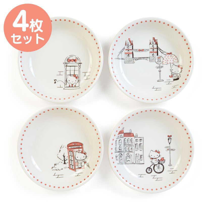 Hello Kitty Pasta Plate 4pcs Set London Sanrio Japan