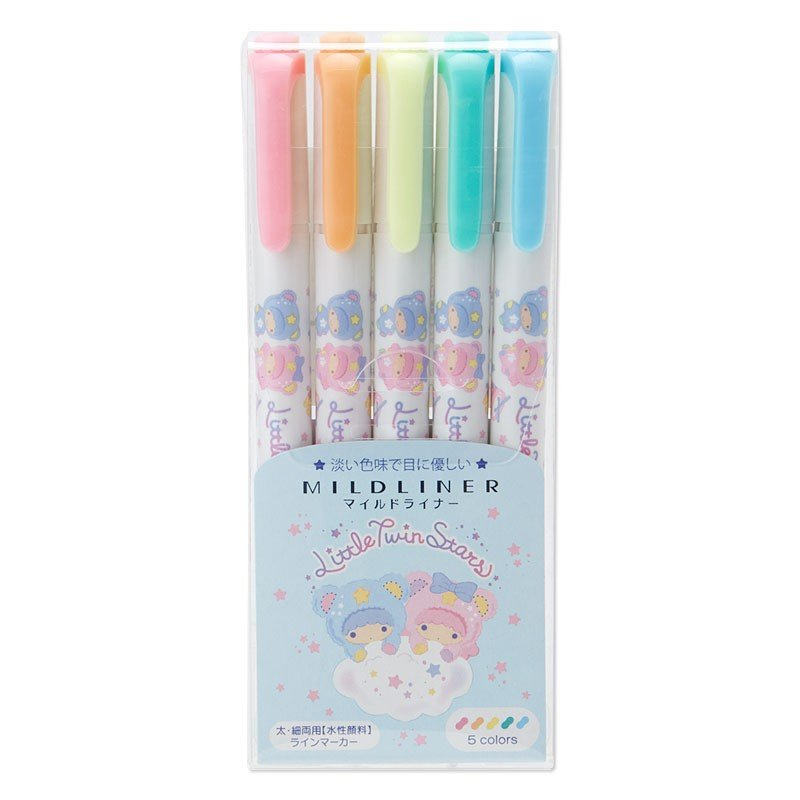 Little Twin Stars Kiki Lala Zebra Mildliner Pen 5 Mild Colors Set Sanrio Japan