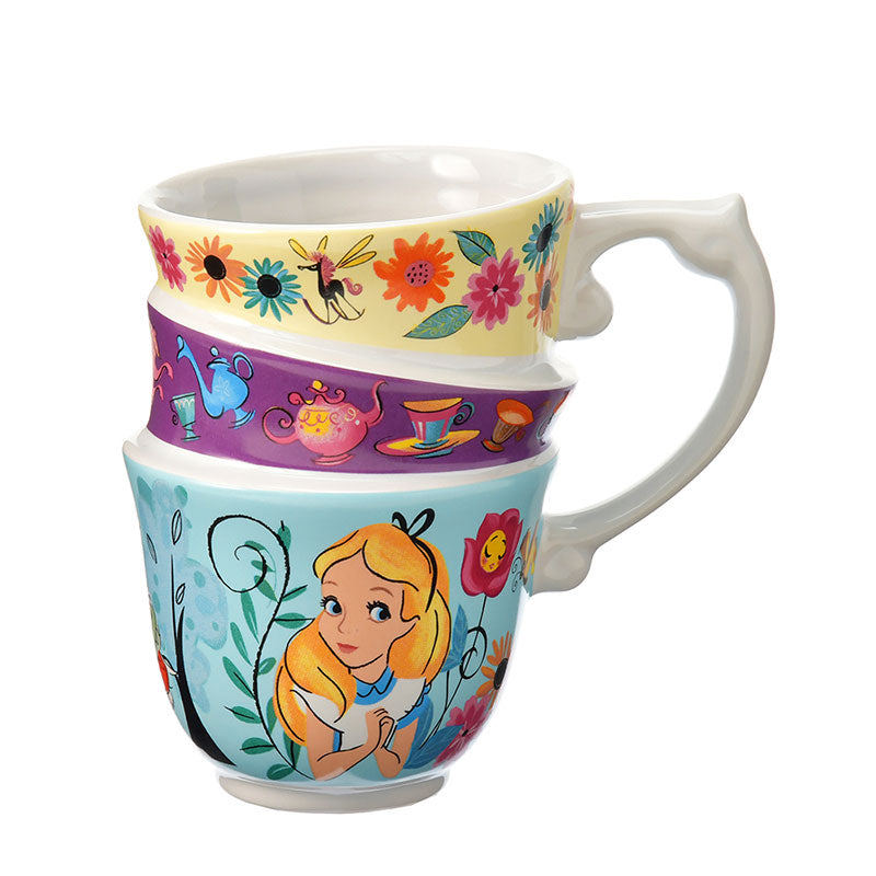 Alice in Wonderland White Rabbit Mug Cup 3 Teacups design Disney Store Japan