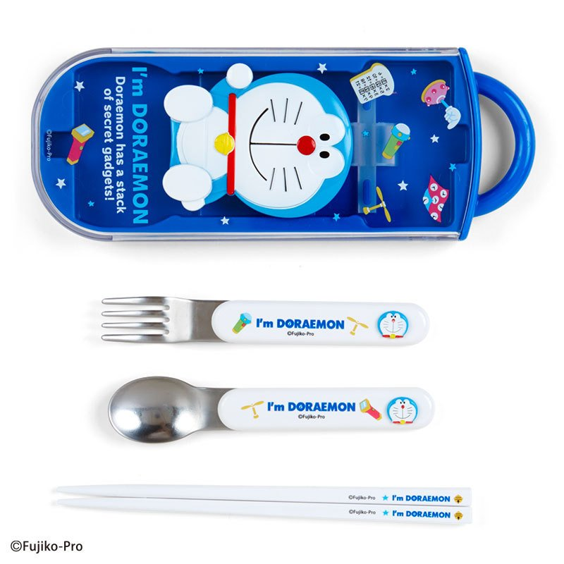 I'm DORAEMON Lunch Trio Cutlery Fork Spoon Chopsticks Relief Sanrio Japan 2021