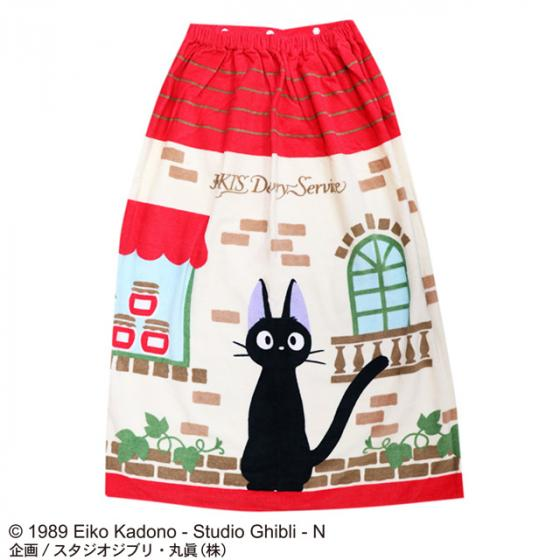 Kiki's Delivery Service Jiji Wrap Towel 80cm Red Roof Studio Ghibli Japan