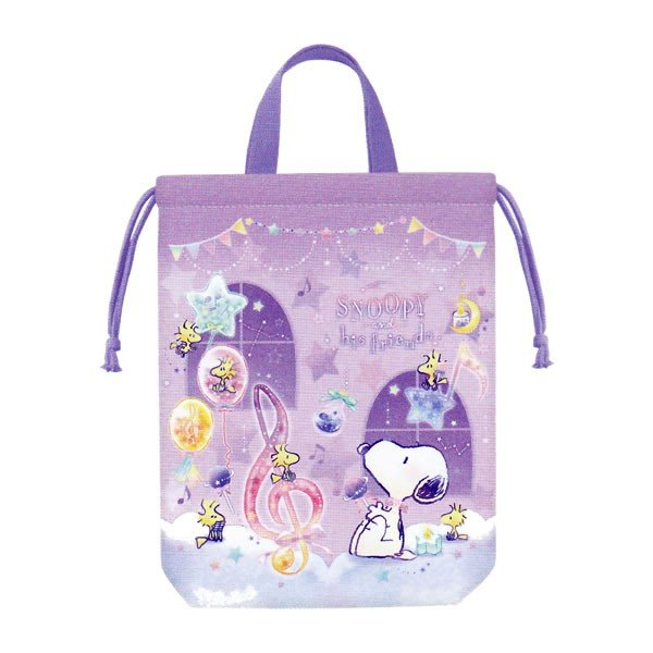 Snoopy Drawstring Pouch S with Handle Classic Purple PEANUTS Japan