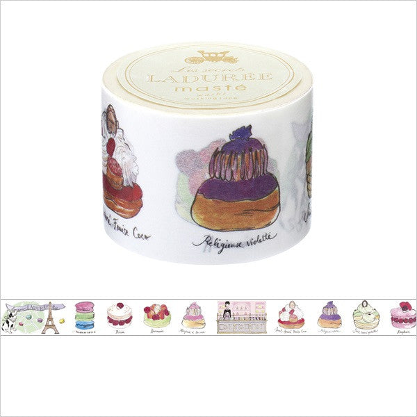 Laduree Japan Masking Tape Sticker 35mm Patisserie Macaron Cake White