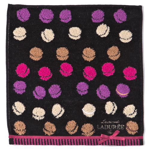 Towel Handkerchief Jacquard Macarons Black Laduree Japan