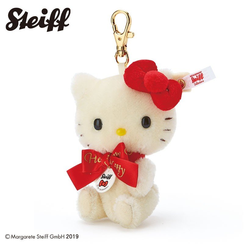 Hello Kitty 45th Plush Keychain Key Ring Steiff Sanrio Japan