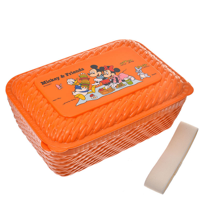 Mickey Minnie Donald Lunch Box Bento L Rattan Basket style Disney Store Japan