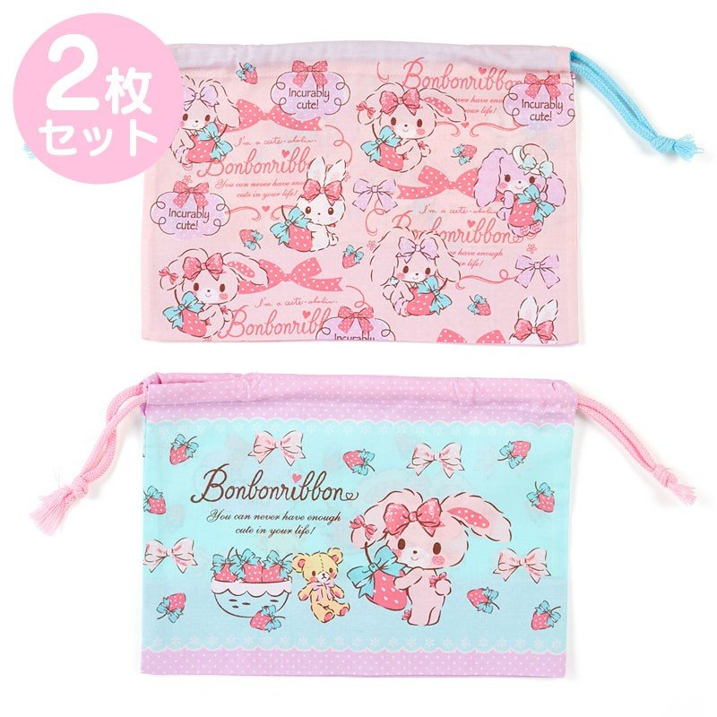 Bonbonribbon Drawstring Lunch Bag 2pcs Set Strawberry Sanrio Japan