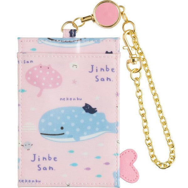 Jinbei San Whale Shark Reel ID Card Pass Case Pink Hot Spring San-X Japan