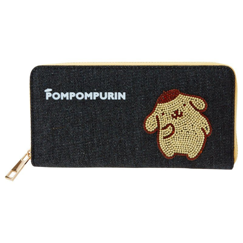 Pom Pom Purin Denim Zipper Long Wallet Glitter Sanrio Japan