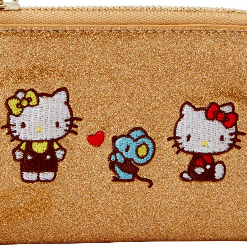 Hello Kitty ID Card Pass Case w/ Chain Spark Decoration Sanrio Japan