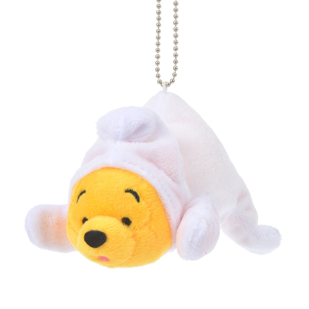 Winnie the Pooh Plush Keychain Lying down The Wishing Bear Disney Store Japan