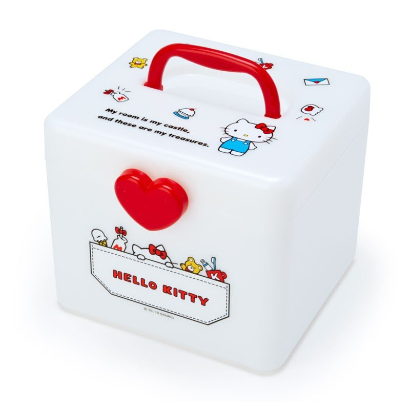 Hello Kitty Storage Box M with Handle Sanrio Japan