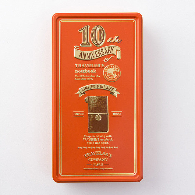Traveler's Notebook mini 10th Anniversary Can Set Brown Orange
