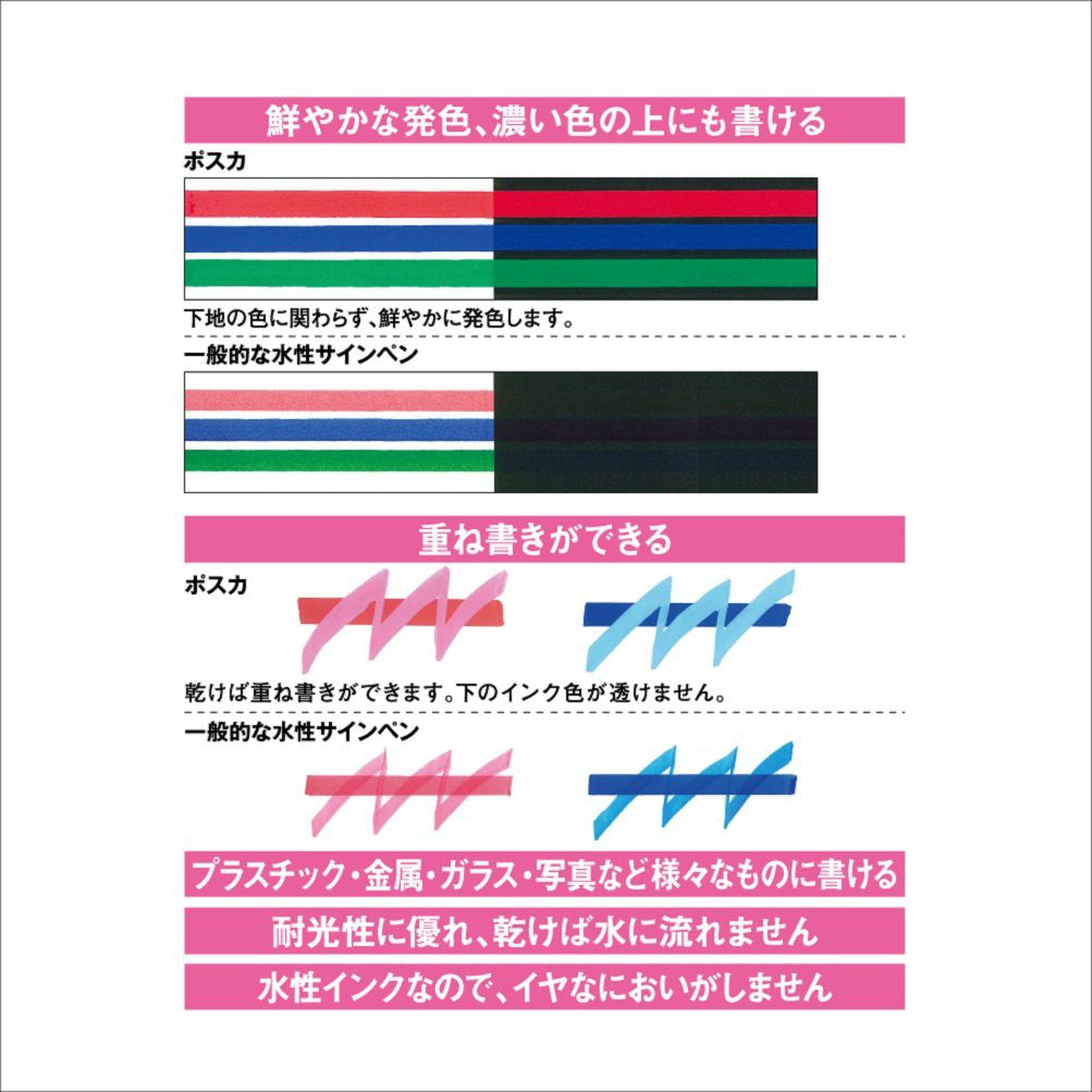 UNI MITSUBISHI POSCA Marker Pen Bold Point Thick 15 colors PC8K15C Japan