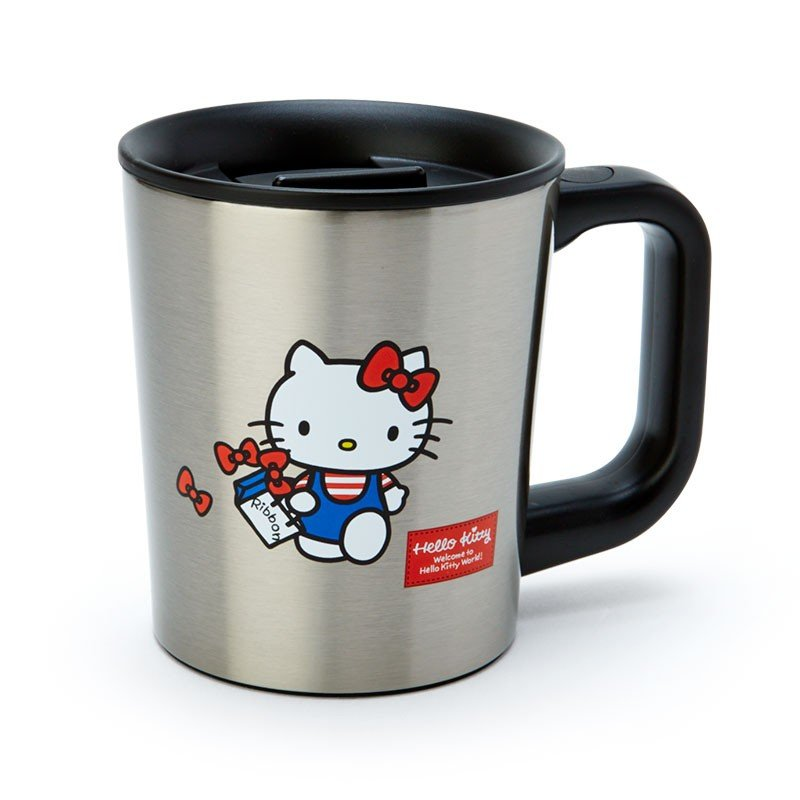 Hello Kitty Stainless Mug Cup with Lid Silver Sanrio Japan