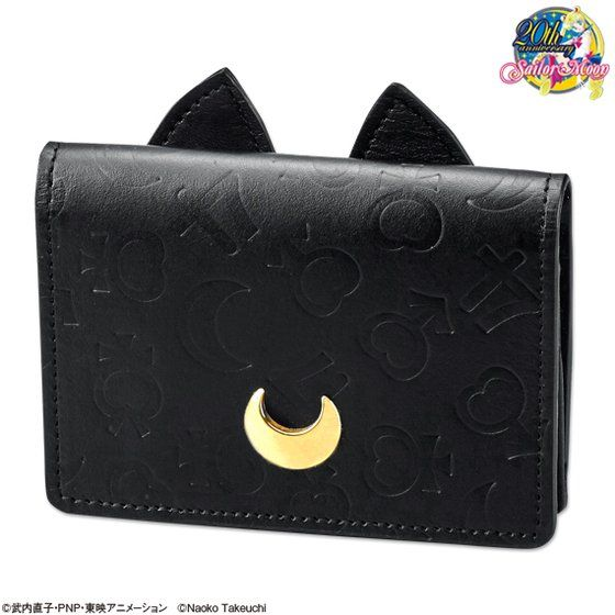 Luna Leather Card Case Emboss Black Sailor Moon Japan Cat