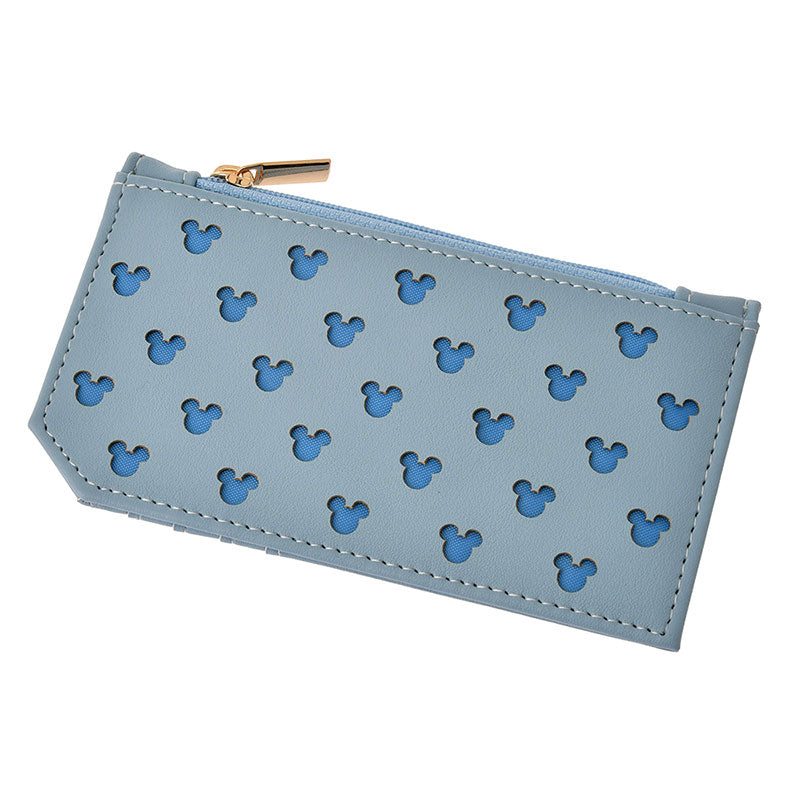 Mickey Coin Case Pouch Blue Gray Oshigoto Work Disney Store Japan