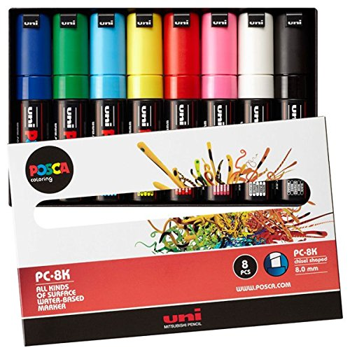 UNI MITSUBISHI POSCA Marker Pen Bold Point Thick 8 colors PC8K8C Japan