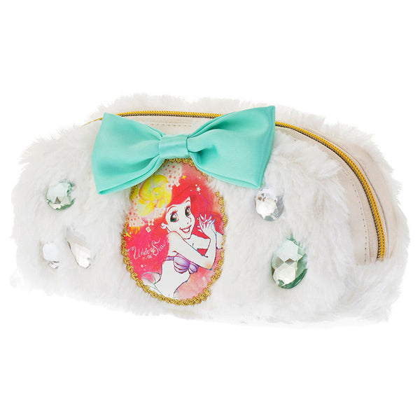 Ariel Pen Case Pencil Pouch Fluffy Ribbon white Disney Store Japan