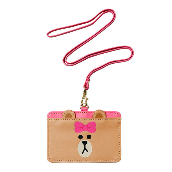 Choco Bear ID Card Holder Pass Case Strap LINE FRIENDS Japan