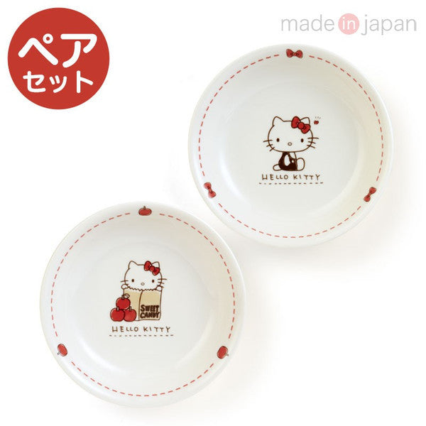 Hello Kitty Porcelain Pasta Plate 2pcs Set Sanrio Japan