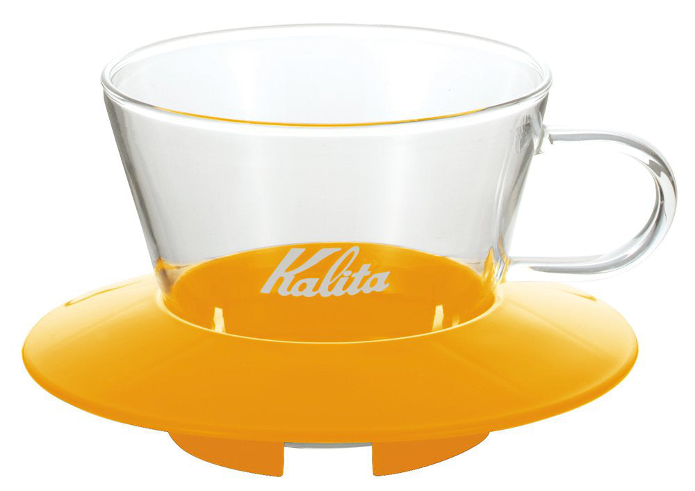 Glass Coffee Dripper 155 Mango Yellow 05061 Wave Series Kalita Japan