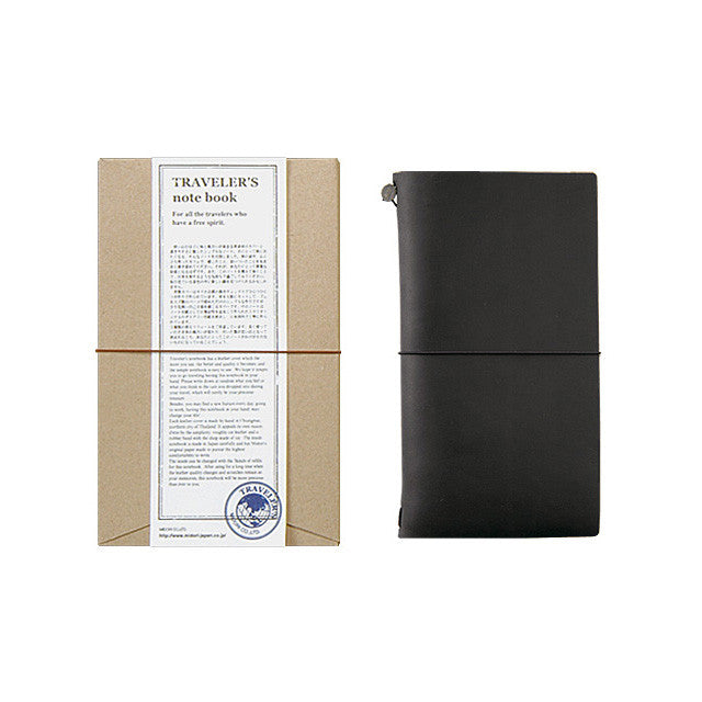 TRAVELER'S Notebook Regular size Black Leather Cover Midori Japan 13714006