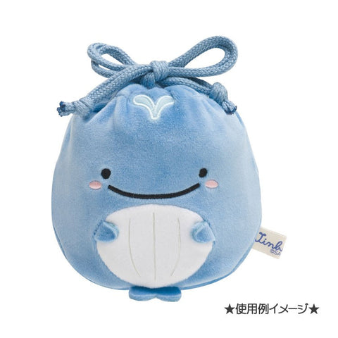 Kokujira Whale mini Plush Drawstring Bag Pouch San-X Japan Jinbei San