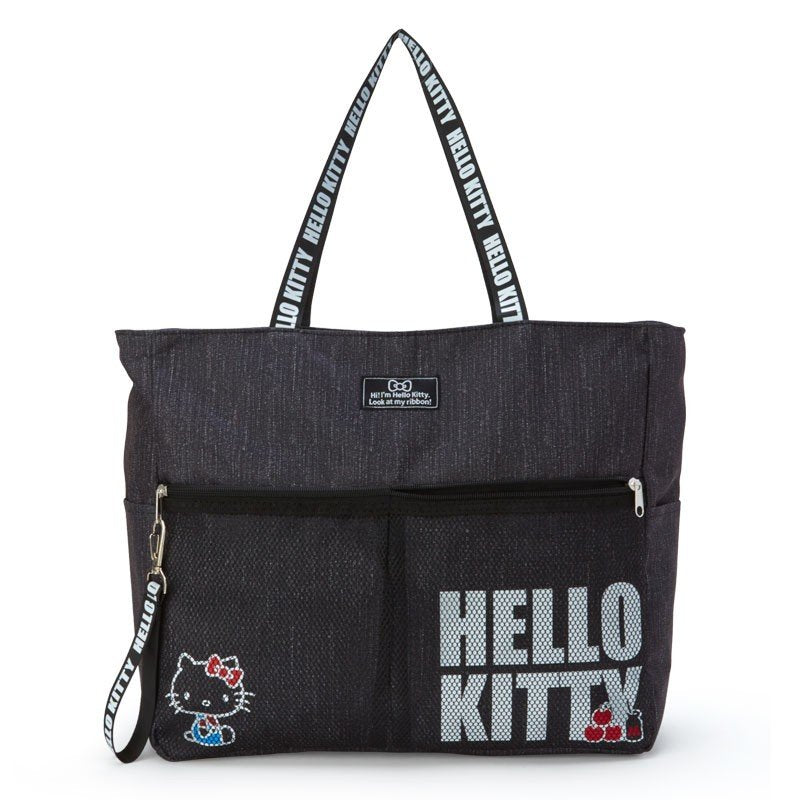 Hello Kitty Denim style Tote Bag Black Sanrio Japan