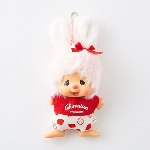 Chimutan Mascot Holder Flat Keychain Strawberry Monchhichi Japan 2019
