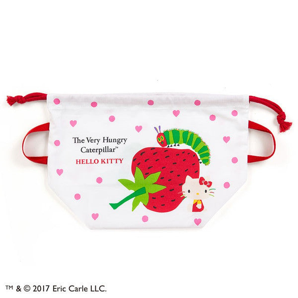 Hello Kitty The Very Hungry Caterpillar Drawstring Lunch Bag Heart Sanrio Japan