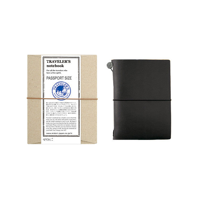 TRAVELER'S Notebook Passport size Black Leather Cover Midori Japan 15026006