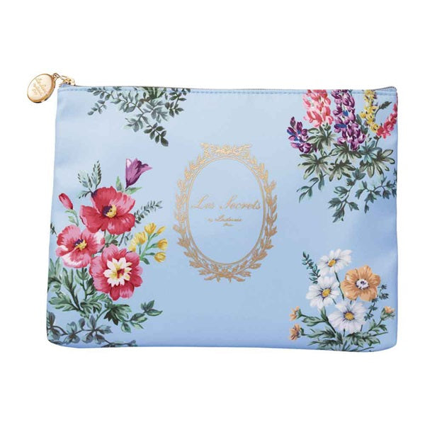 Flat Pouch Bouquet de Fleur Blue Gray Laduree Japan Flower