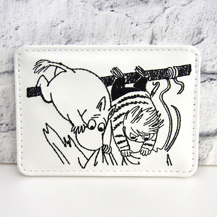 Moomin ID Card Pass Case Embroidery White Moomin Japan