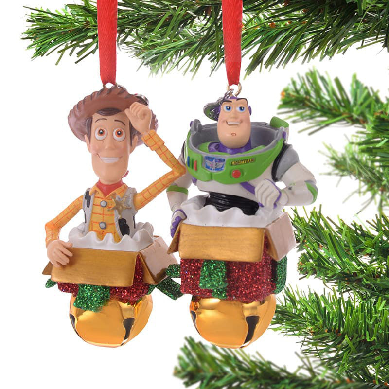 toy story woody buzz lightyear christmas tree ornament bell disney store japan