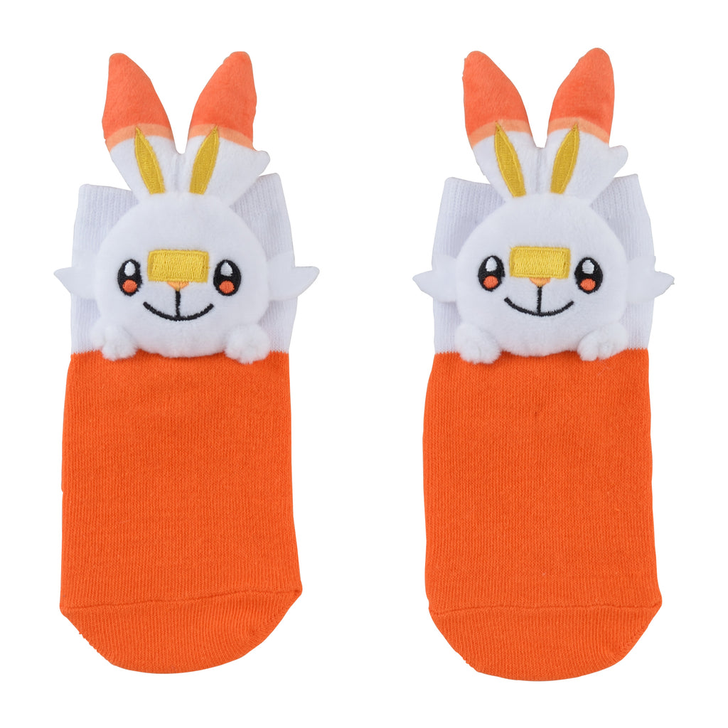 Scorbunny Hibanny Short Sock with Plush Mascot Pokemon Center Japan Kids 13-18cm
