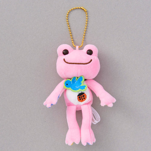 Pickles the Frog Plush Keychain Lucky Motif Blue Bird Ladybug Clover Pink Japan