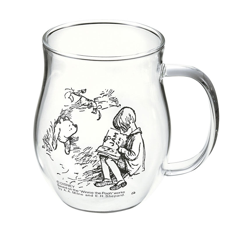 Winnie the Pooh Christopher Robin Glass Mug Cup Classic Disney Store Japan Box