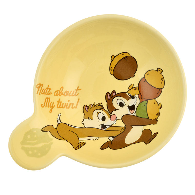 Chip & Dale Soup Bowl Walnut Disney Store Japan