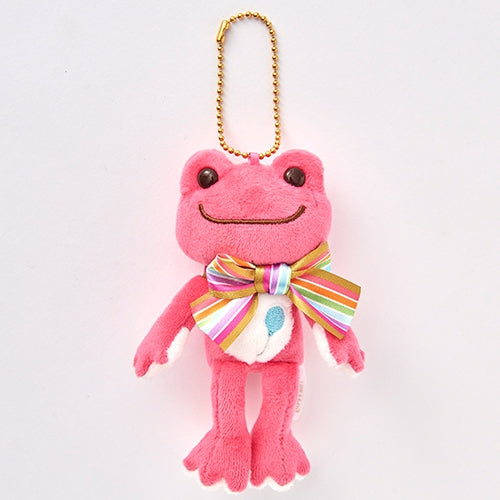 Pickles the Frog Plush Keychain Rainbow Color Ribbon Pink Japan