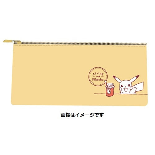 Flat Pouch Yellow Living with PIKACHU Pokemon Center Japan Original