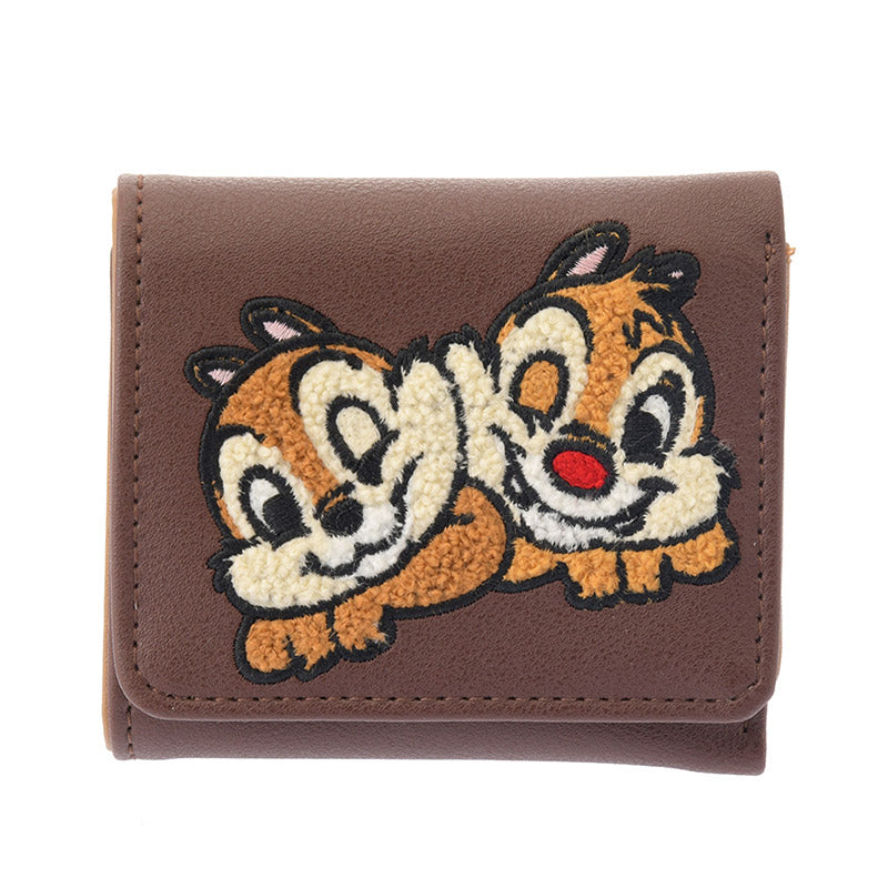 Chip & Dale Trifold Wallet Sagara Embroidery Brown Disney Store Japan
