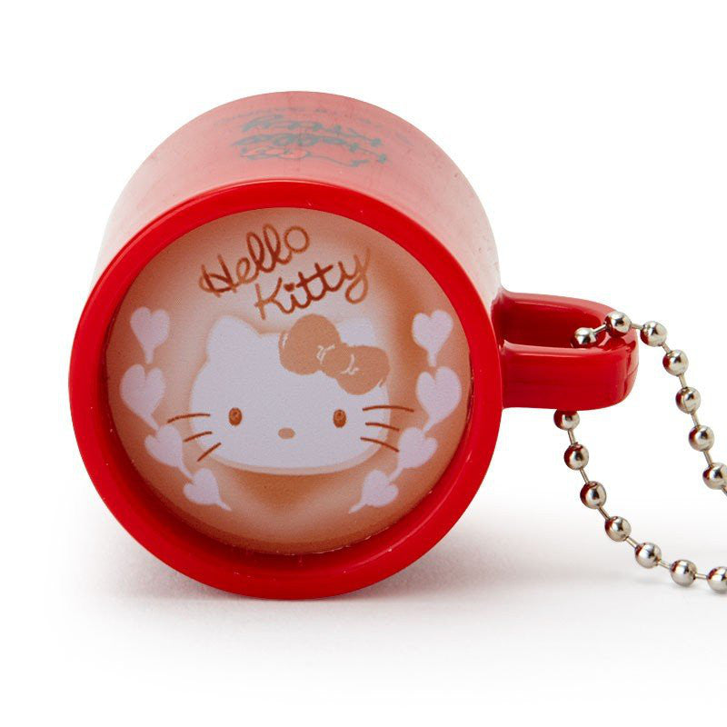 Hello Kitty LED Light Keychain Latte Art Mug Sanrio Japan