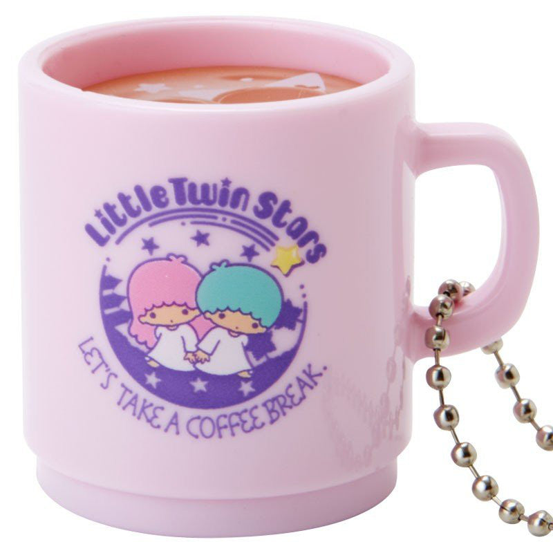 Little Twin Stars LED Light Keychain Latte Art Mug Sanrio Japan Kiki Lala