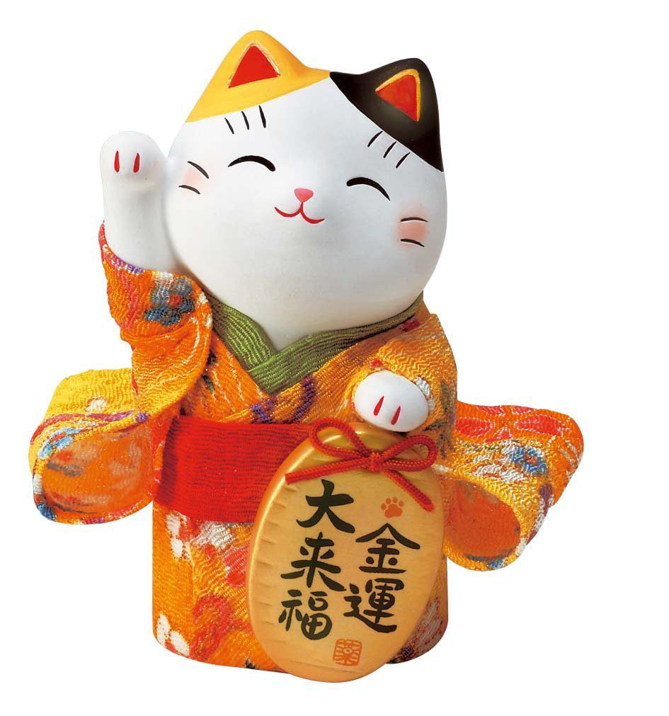 Japan Beckoning Cat Maneki Neko Lucky Kimono Right Hand for Money Y7415